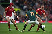 Twickenham, Great Britain, Left Tyler MORGAN, centre, Bryam HABANA and Jamie ROBERTS. during the Quarter Final 1 game, South Africa vs Wales.  2015 Rugby World Cup,  Venue, Twickenham Stadium, Surrey, ENGLAND.  Saturday  17/10/2015.   [Mandatory Credit; Peter Spurrier/Intersport-images]