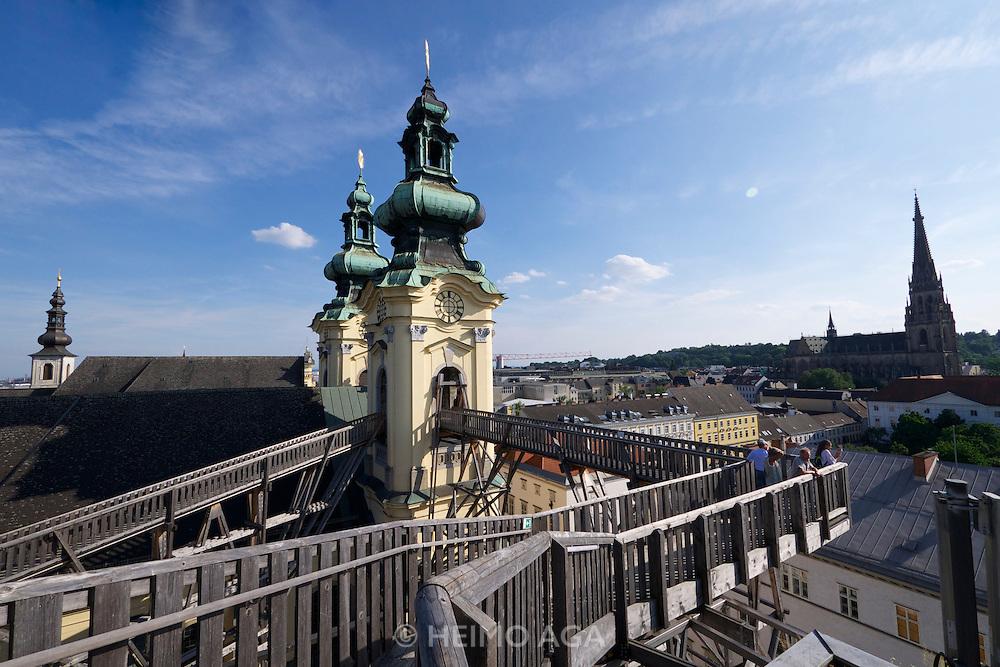 Linz, Austria. H&Ouml;HENRAUSCH.3<br /> Die Kunst der T&uuml;rme (The Art of Towers)<br /> Kircht&uuml;rme der<br /> Ursulinenkirche (St. Ursula Church Towers); Conzett, Bronzini, Gartmann (Switzerland), &ldquo;Br&uuml;cken im Himmel&rdquo;, 2011