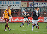Dundee&rsquo;s Gary Harkins congratulates Dundee&rsquo;s Paul McGowan after the midfielder's goal had made the score 1-1 - Dundee v Motherwell, Ladbrokes Premiership at Dens Park <br /> <br />  - &copy; David Young - www.davidyoungphoto.co.uk - email: davidyoungphoto@gmail.com