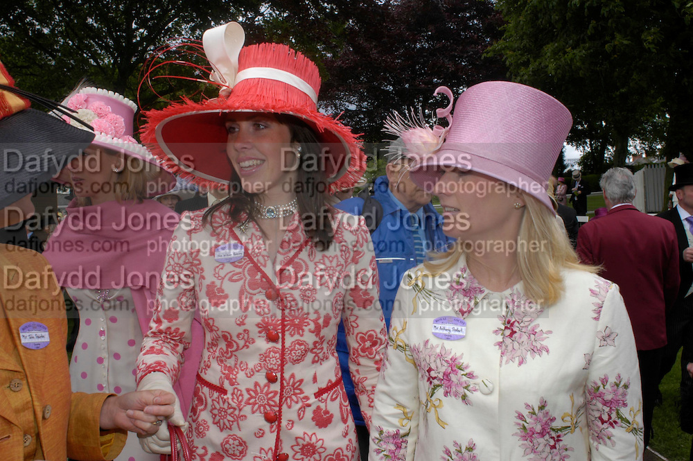 Mrs. William Ramsay and Mrs. Anthony Stodart. Royal Ascot Race meeting Ascot at York. Tuesday 14 June 2005. ONE TIME USE ONLY - DO NOT ARCHIVE  © Copyright Photograph by Dafydd Jones 66 Stockwell Park Rd. London SW9 0DA Tel 020 7733 0108 www.dafjones.com