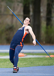 Stephen Thompson throws the javelin for Virginia.  The Virginia Cavaliers men's and women's track and field teams hosted the Missouri Tigers.  The Virginia women defeated Missouri while the Mizzou men defeated UVA on April 5, 2008 at The University of Virginia's Lannigan Field in Charlottesville, VA.