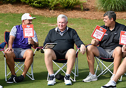 Clemson  head football coach Dabo Swinney,North Carolina head football coach Mack Brown and Ole Miss head football coach Matt Luke during the Chick-fil-A Peach Bowl Challenge Closest to the Pin Skills Competition at the Ritz Carlton Reynolds, Lake Oconee, on Monday, April 29, 2019, in Greensboro, GA. (Dale Zanine via Abell Images for Chick-fil-A Peach Bowl Challenge)