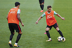 October 8, 2017 - Lisboa, Portugal - Portuguese defenders Jose Fonte and Cedric Soares during National Team Training session before the match between Portugal and Switzerland at Luz Stadium in Lisbon on October 8, 2017. ....(Photo by Luis Moreira/NurPhoto) (Credit Image: © Filipe Amorim/NurPhoto via ZUMA Press)