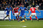 AFC Wimbledon midfielder Tom Soares (14) dribbling during the EFL Sky Bet League 1 match between AFC Wimbledon and Charlton Athletic at the Cherry Red Records Stadium, Kingston, England on 11 February 2017. Photo by Matthew Redman.