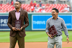 May 6, 2018 - Washington, DC, U.S. - WASHINGTON, DC - MAY 06:  Former D.C. United star, Jaime Moreno (R) and NBA Hall of Fame player, Grant Hill (L) are inducted into the Washington Sports Hall of Fame prior to the game between the Philadelphia Phillies  and the Washington Nationals on May 6, 2018, at Nationals Park, in Washington D.C.  The Washington Nationals defeated the Philadelphia Phillies, 5-4.  (Photo by Mark Goldman/Icon Sportswire) (Credit Image: © Mark Goldman/Icon SMI via ZUMA Press)
