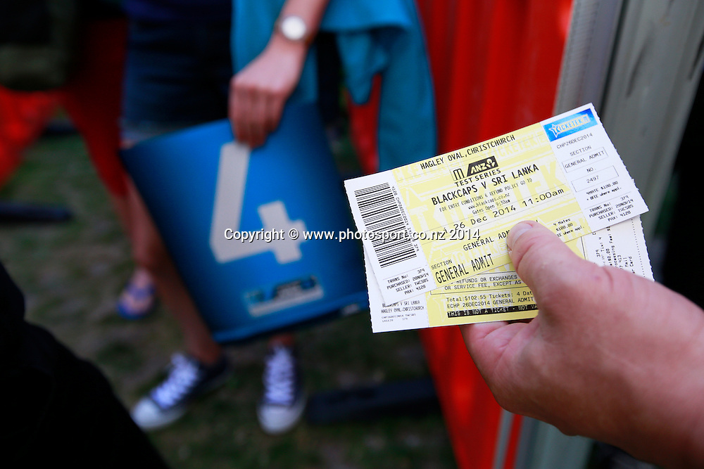Tickets to Day 1 of the boxing Day Cricket Test Match between the Black Caps v Sri Lanka at Hagley Oval, Christchurch. 26 December 2014 Photo: Joseph Johnson / www.photosport.co.nz