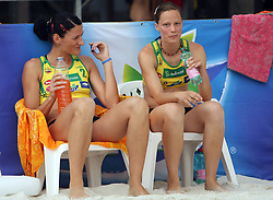 Ana Kocjancic (R) and (L) Andreja Vodeb (Aliansa Team) at qualifications for 14th National Championship of Slovenia in Beach Volleyball and also 4th tournament of series TUSMOBIL LG presented by Nestea, on July 25, 2008, in Kranj, Slovenija. (Photo by Vid Ponikvar / Sportal Images)/ Sportida)