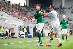 Leon Benko of NK Olimpija Ljubljana and Aleksandr Kulinits of NK Krsko during football match between NK Olimpija Ljubljana and NK Krsko in Round #35 of Prva liga Telekom Slovenije 2017/18, on May 23, 2018 in SRC Stozice, Ljubljana, Slovenia. Photo by Urban Urbanc / Sportida