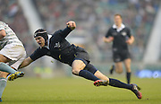 Twickenham. UK.   Oxford's,  Jon HUDSON at full stretch, during the  the 2013 Varsity Rugby Match,  Final score Oxford, defeating Cambridge,  33 - 15 on    Thursday  12/12/2013, at the RFU Stadium.  Surrey, England  [Mandatory Credit. Peter Spurrier/Intersport Images]