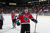 KELOWNA, CANADA - NOVEMBER 10: Kole Lind #16 of the Kelowna Rockets celebrates a third period goal against the Vancouver Giants on November 10, 2017 at Prospera Place in Kelowna, British Columbia, Canada.  (Photo by Marissa Baecker/Shoot the Breeze)  *** Local Caption ***