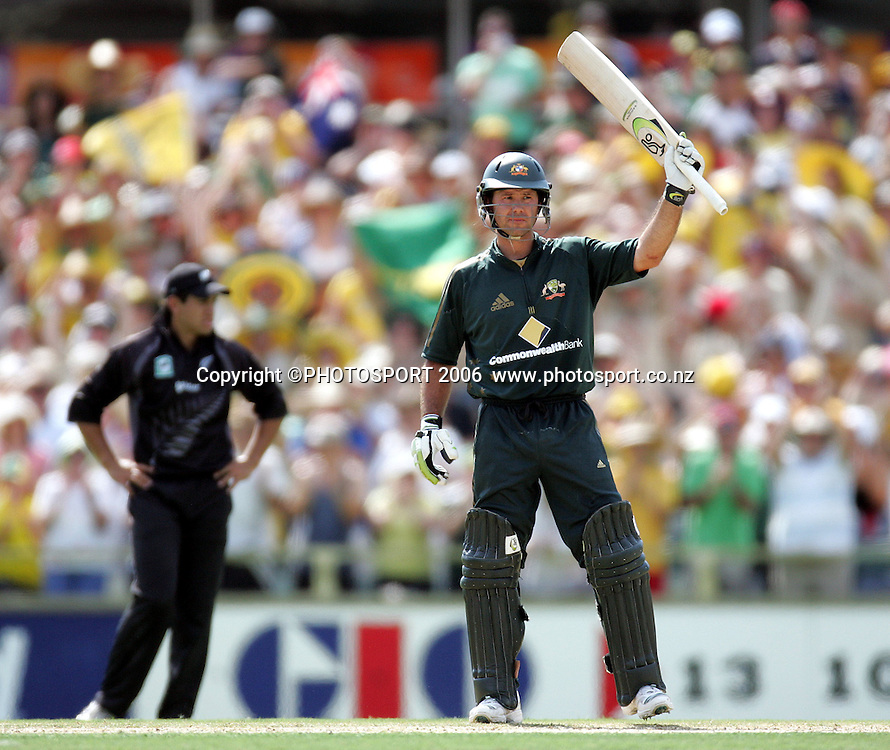 Australian captain Ricky Ponting acknowledges the crowd after scoring a century during the one day international cricket match between New Zealand and Australia at the WACA ground in Perth on Sunday 28 January, 2007. Australia made 343/5 after winning the toss and batting first. Photo: Andrew Cornaga/PHOTOSPORT<br /><br /><br /><br />280107