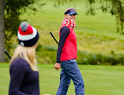Auchterarder, Scotland, UK. 12 September 2019. Final practice day at 2019 Solheim Cup on Centenary Course at Gleneagles. Pictured; Lexi Thompson (l) and Jessica Korda chat on the fairway. Iain Masterton/Alamy Live News