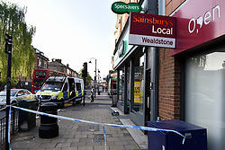 © Licensed to London News Pictures. 06/05/2018. LONDON, UK.  Police cordon off Palmerston Road in Wealdstone, near Harrow, north west London, following reports of two separate shooting incident around midday on Sunday 6 May 2018.  The two victims are a 12 year old boy and a15 year old boy.  Investigations are ongoing.  Photo credit: Stephen Chung/LNP