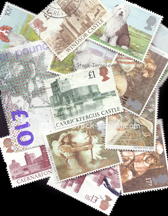 Britain UK Selection of various used British Royal Mail postage stamps close-up