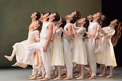 """© Licensed to London News Pictures. 09/03/2015. London, England. Pictured: Alina Cojocaru performing on the far left. Spring and Fall, choreography by John Neumeier. Dress rehearsal of the triple bill """"Modern Masters"""" performed by dancers from the English National Ballet at Sadler's Wells. Performances from 10 to 15 March 2015. Photo credit: Bettina Strenske/LNP"""