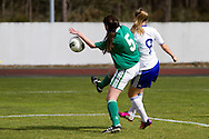 Tocha,Portugal, 9th April 2013 - European Women`s Under 19 - Northern Ireland v Finland -  Alana Mcshane (L) (Northern Ireland) and Juliette Kemppi  (R) (Finland)