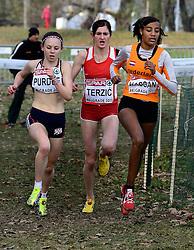 08-12-2013 ATHLETICS: SPAR EC CROSS COUNTRY: BELGRADE<br /> Sifan Hassan heeft vandaag haar favorietenrol waargemaakt. De atlete, die pas enkele weken geleden haar Nederlandse paspoort kreeg, won vandaag het EK Cross onder 23 jaar. Links Charlotte Purdue GBR en Amela Terzic SRB pakken brons en zilver<br /> ©2013-WWW.FOTOHOOGENDOORN.NL
