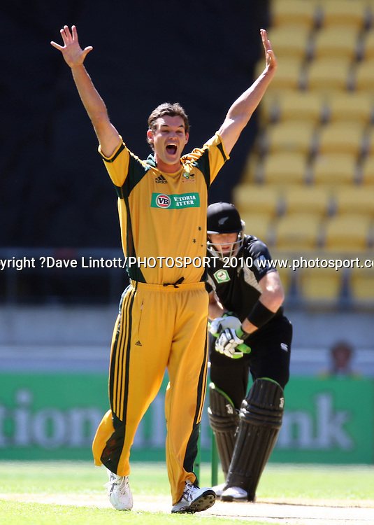 Australia's Clint McKay appeals for lbw on Martin Guptill.<br /> Fifth Chappell-Hadlee Trophy one-day international cricket match - New Zealand v Australia at Westpac Stadium, Wellington. Saturday, 13 March 2010. Photo: Dave Lintott/PHOTOSPORT