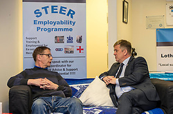 EMBARGOED UNTIL 00:01 2 APRIL 2017<br /> <br /> Pictured: Gordon Bell, ex-Private in the Royal Scots chatting to Mr Brown on the help provided by the fund<br /> During his visit to the Lothians Veteran Centre in Dalkeith on Friday 31 March, Veterans Secretary Keith Brown  announced the successful applicants to the 2017 Scottish Veterans Fund.<br /> The Lothians Veteran Centre provides a person-centred support service for ex-service personnel and their families across Lothians, including projects relating to housing, benefits &amp; welfare, and employment, education and training support.<br /> <br /> Ger Harley | EEm 31 March 2017