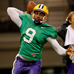 January 5, 2012; New Orleans, LA, USA; LSU Tigers quarterback Jordan Jefferson (9) during practice for the 2012 BCS National Championship game to be played on January 9, 2012 against the Alabama Crimson Tide at the Mercedes-Benz Superdome.  Mandatory Credit: Derick E. Hingle-US PRESSWIRE