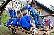 LUNTEREN Queen Maxima of The Netherlands visits girls scouting group of Scouting Lunteren, The Netherlands, 22 April 2014. Queen Maxima is patroness of Scouting Netherlands. COPYRIGHYT ROBIN UTRECHT