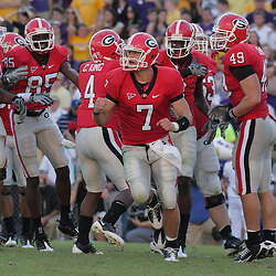 25 October 2008:  Georgia quarterback Matthew Stafford (7) celebrates with teammates after a Bulldogs touchdown during the Georgia Bulldogs 52-38 victory over the LSU Tigers at Tiger Stadium in Baton Rouge, LA.