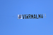 MALMO, SWEDEN - MAY 20: JA flight over the stadium with this sign during the Allsvenskan match between Malmo FF and BK Hacken at Malmo Stadion on May 20, 2018 in Malmo, Sweden. Photo by Lars Dareberg/Ombrello ***BETALBILD***