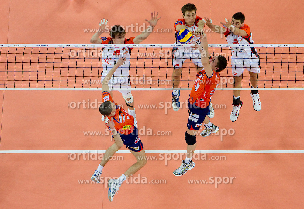 Milan Rasic and Dejan Vincic of ACH vs Igor Yudin, Lukasz Polanski and Lukas Divis of Jastrzebski during volleyball match between ACH Volley (SLO) and Jastrzebski Wegiel (POL) in 6th Round of 2011 CEV Champions League, on January 12, 2011 in Arena Stozice, Ljubljana, Slovenia. (Photo By Vid Ponikvar / Sportida.com)