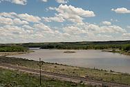 Yellowstone River, railroad tracks, south of Sidney Montana
