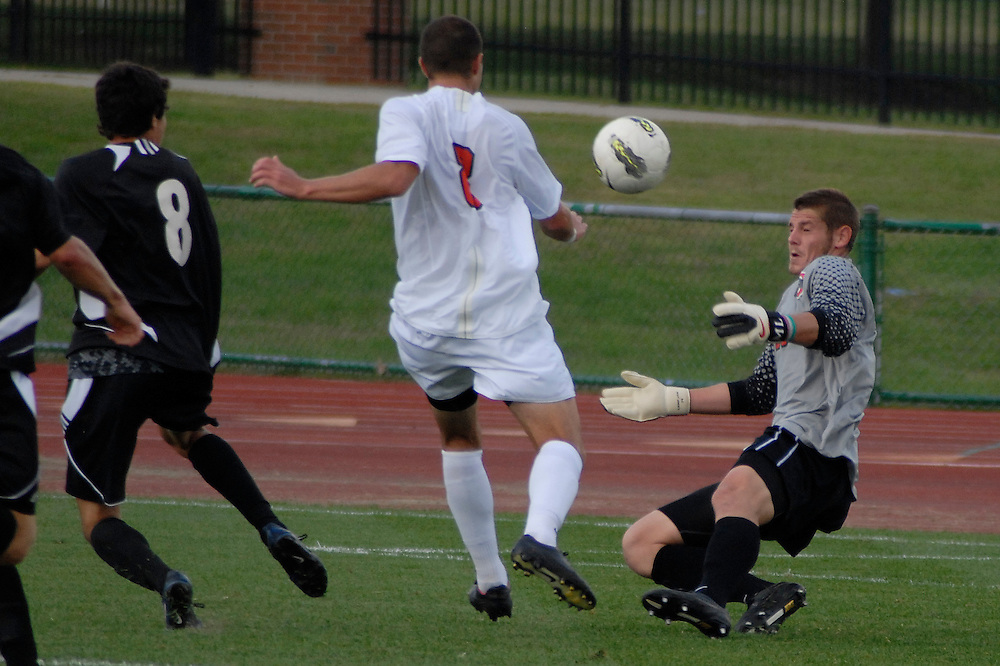 Ohio State goalkeeper Matt Lampson (28) makes a save as OSU takes on Binghamton in the first half of an NCAA men's college soccer game in Columbus, Ohio on Sunday, Sept. 11, 2011, at Jesse Owens Memorial Stadium.