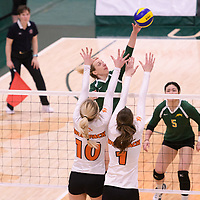 3rd year Right-Side hitter Haley Wagar in action during Women's Volleyball home game on January 13 at Centre for Kinesiology, Health and Sport. Credit: Arthur Ward/Arthur Images 2018
