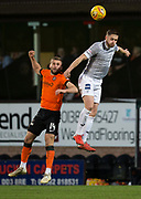 12th January 2019, Tannadice Park, Dundee, Scotland; Scottish Championship football, Dundee United versus Dunfermline Athletic; Daniel Devine of Dunfermline Athletic competes in the air with Pavol Safranko of Dundee United