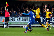 AFC Wimbledon attacker Marcus Forss (15) about to shoot but is offside during the EFL Sky Bet League 1 match between AFC Wimbledon and Southend United at the Cherry Red Records Stadium, Kingston, England on 1 January 2020.