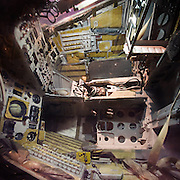 Gemini space capsule, showing the interior of the capsule where the two astronauts sat throughout their mission.