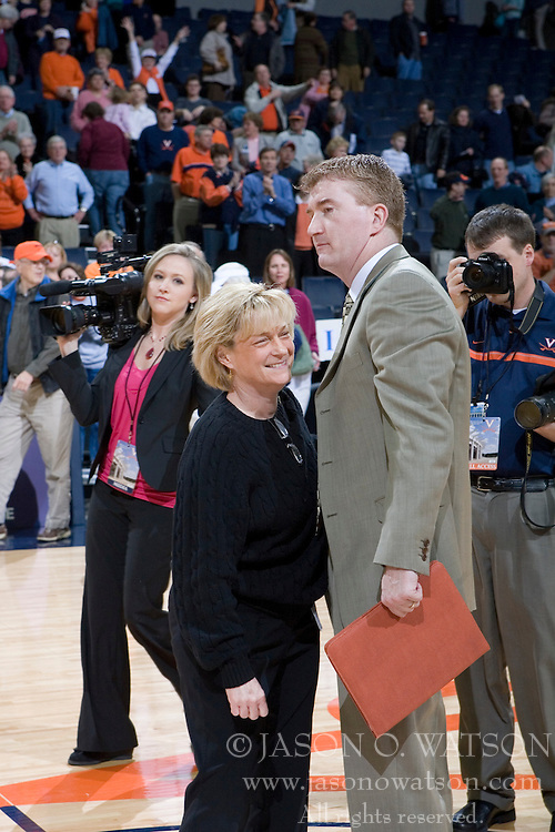 Virginia Cavaliers Head Coach Debbie Ryan celebrates with her team.  The Virginia Cavaliers women's basketball team defeated The University of North Carolina - Charlotte 49ers 74-72 in the 2nd round of the Women's NIT at John Paul Jones Arena in Charlottesville, VA on March 19, 2007.