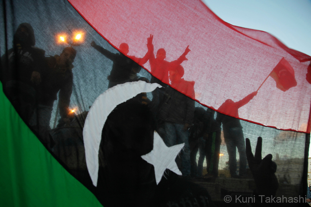 Protesters against Col. Muammar Gaddafi celebrate in Benghazi, Libya, on Feb 27, 2011.The oppositions against Gaddafi took control of the city early last week..Photo by Kuni Takahashi