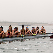 13 February 2016: The San Diego State Aztecs women's rowing team practices in the fog on mission bay.