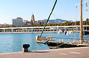 View over the harbour marina to the historic cathedral and city centre, Malaga, Spain