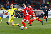 Crawley Town forward Karlan Ahearne-Grant has a shot on goal during the EFL Sky Bet League 2 match between Crawley Town and Cheltenham Town at the Checkatrade.com Stadium, Crawley, England on 24 March 2018. Picture by Andy Walter.