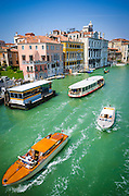 Boats and palaces on the Grand Canal, Venice, Veneto, Italy