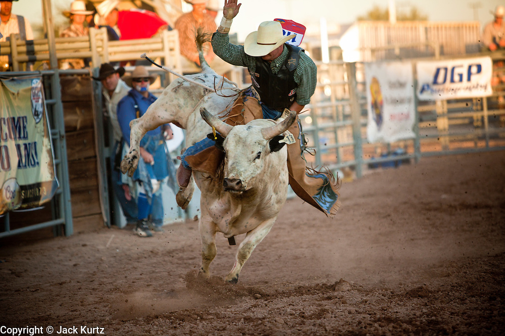 26 NOVEMBER 2011 - CHANDLER, AZ:    JEFF ALDER competes in bull riding at the Grand Canyon Pro Rodeo Association (GCPRA) Finals at Rawhide Western Town in west Chandler, AZ, about 20 miles from Phoenix Saturday. The GCPRA Finals is the last rodeo of the GCPRA season. The GCPRA is a professional rodeo association based in Arizona.   PHOTO BY JACK KURTZ