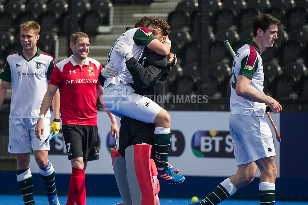 Surbiton's Alan Forsyth celebrates with Harry Gibson. Holcombe v Surbiton - Semi-Final - Men's Hockey League Finals, Lee Valley Hockey & Tennis Centre, London, UK on 22 April 2017. Photo: Simon Parker