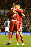Middlesbrough midfielder Gaston Ramirez celebrates goal with Middlesbrough striker Jordan Rhodes during the Sky Bet Championship match between Birmingham City and Middlesbrough at St Andrews, Birmingham, England on 29 April 2016. Photo by Alan Franklin.