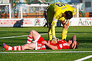 Aberdeen FC Goalkeeper Danny Ward takes out Aberdeen FC Midfielder Jonny Hayes during the Ladbrokes Scottish Premiership match between Hamilton Academical FC and Aberdeen at New Douglas Park, Hamilton, Scotland on 22 November 2015. Photo by Craig McAllister.