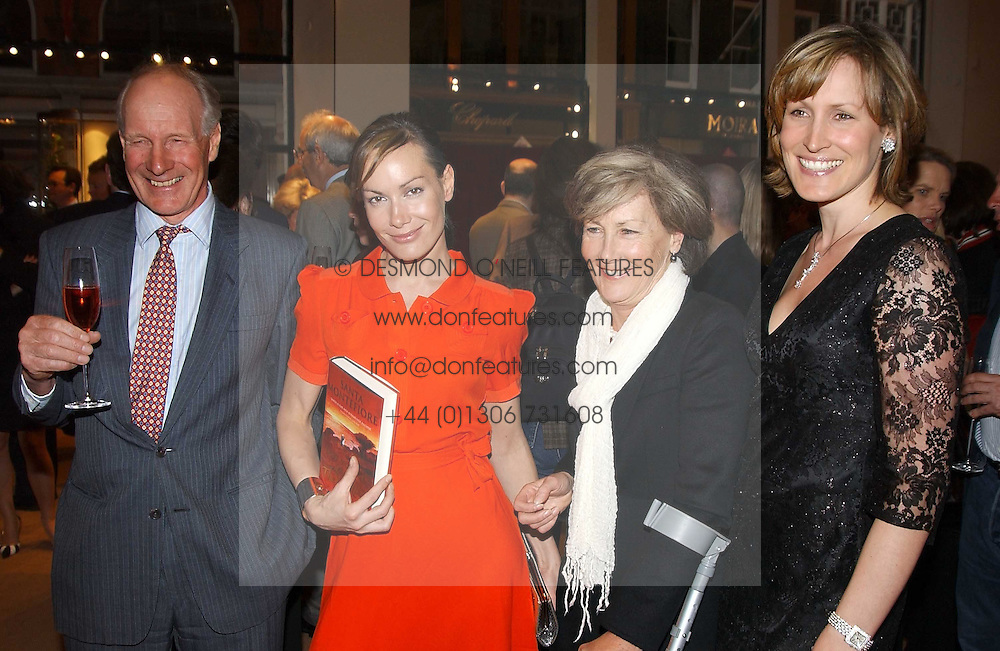 Left to right, CHARLES PALMER-TOMKINSON, TARA PALMER-TOMKINSON, PATTI PALMER-TOMKINSON and SANTA SEBAG-MONTEFIORE at a party to celebrate the publication of 'Last Voyage of The Valentina' by Santa Montefiore at Asprey, 169 New Bond Street, London W1 on 12th April 2005.<br />