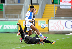 Nathan Cameron of Bury halts Ellis Harrison of Bristol Rovers - Mandatory by-line: Neil Brookman/JMP - 30/03/2018 - FOOTBALL - Memorial Stadium - Bristol, England - Bristol Rovers v Bury - Sky Bet League One