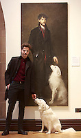 The enormously popular BP Portrait Award Italian artist Cristiano Di Martino and his dog Gina return to Edinburgh. Opening at the Scottish National Portrait Gallery on 29 November.  Organised by the National Portrait Gallery in London. Pako Mera 27/11/2014. Pako Mera 27/11/2014