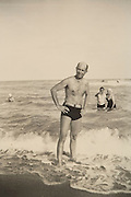 person posing for a picture at the beach Florida 1942