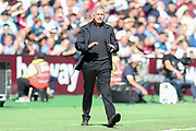 Manchester United Manager Jose Mourinho is angry and gestures during the Premier League match between West Ham United and Manchester United at the London Stadium, London, England on 29 September 2018.
