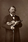 Joseph Joachim (1831-1907) Hungarian violinist, composer and Director of Berlin Conservatory.  From 'The Cabinet Portrait Gallery' (London, 1890-1894).  Woodbury type after photograph by W & D Downey.